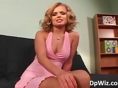 Hot blonde babe takes on three hard tube porn video