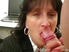 Mature secretary giving POV blowjob tube porn video