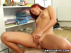 Amateur redhead rides hard cock till orgasm tube porn video