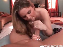 She goes down on big cock in POV tube porn video