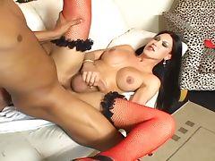 Filthy brunette tranny whacked hardcore in wet ass tube porn video