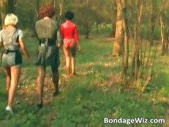 Some guy is tied up in the woods tube porn video