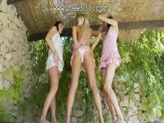Three lezz nymphs trying glass toys tube porn video