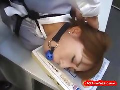 Office Lady Bondaged Laying On The Desk Getting Her Mouth Fucked By Guys In The Office tube porn video