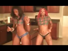 Two ebony babes dancing the pole tube porn video