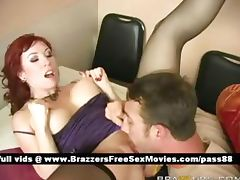 Mature redhead slut in bed gets her wet pussy licked tube porn video
