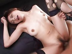 Brunette Asian beauty nasty creampie threesome tube porn video