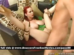 Busty redhead girl on the couch gets her pussy licked tube porn video