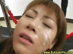 Nasty fetish asian hoe gets bukkake tube porn video