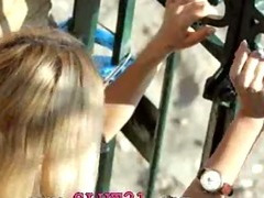 Incredible blond in shoes fingering tube porn video