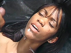 Ebony Couple in a Dark Room Fucking on an Ebony Leather Couch and Girl's Ebony Pussy is Hairy tube porn video
