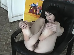 Slavic Brunette Girl Spreads Her Legs to Shock Us with Her Awesome Hairy Pussy tube porn video
