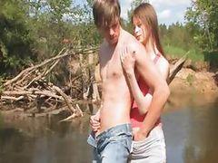 Young couple sex by the lake tube porn video