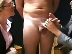 CFNM ladies are milking off a cock tube porn video