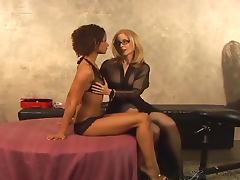 Izabella Star and Nina Hartley fuck each other with strap on tube porn video