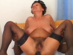 Anal interracial with hairy mature brunette tube porn video