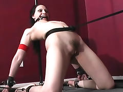 Gagged girl bent in bondage tube porn video