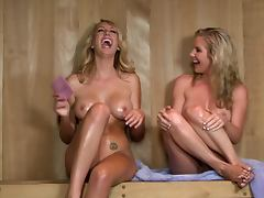 Blondes Ainsley Addison and Brett Rossi Having Fun In The Sauna tube porn video