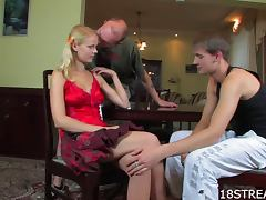Russian Blonde Enjoys a Sexy Threesome tube porn video