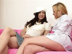 Sizzling blond and a hot brunette are in a fingering fantasy tube porn video