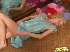 Satin nightgown on blonde tube porn video