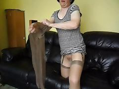 Pantyhose videos. All the ladies get sexier as they wear tempting alluring pantyhose