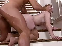 Rocco Siffredi fucks redhead cutie Flame in amazing positions on the stairs tube porn video