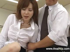 Asian secretary from Tokyo with ass milk tube porn video