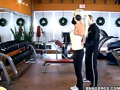 Puma Swede the blonde MILF gets fucked rough in gym tube porn video