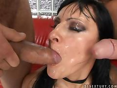 Kleopatra Cazso fucks two dudes and gets her face covered with cum tube porn video