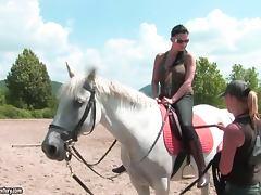 Brunette hottie Aletta Ocean rides a horse on a race course tube porn video