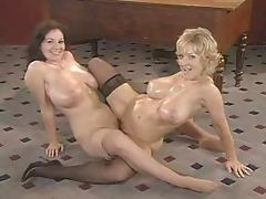 Retro video with busty blonde and brunette having lesbian sex tube porn video