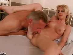Cute blonde Candy Lover enjoys multiposition sex with an old dude tube porn video