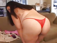 Chubby Asian babe with big dildo tube porn video