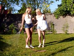 Beatrice and Bianka make out and lick each other's vags in the garden tube porn video