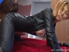 Asian honey in sexy leather suit gets balled deep tube porn video