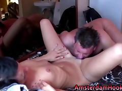 Real amsterdam bitch gets a cumshot tube porn video