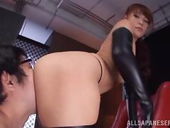 Dazzling Japanese in Leather Boots and Gloves Fucks and Sucks for Jizz tube porn video