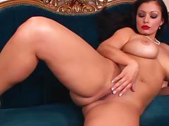 Pretty milf with red lips Aria Giovanni is masturbating tube porn video