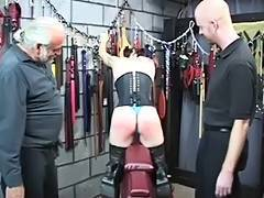 Hawt S M goth hottie receives gazoo spanked with spiked paddle untill bloody by 2 chaps tube porn video