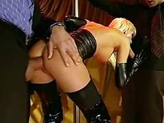 Blond bitch in latex double teamed Brigitta Bui tube porn video