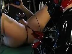 Gasmask electro latex femdom tube porn video