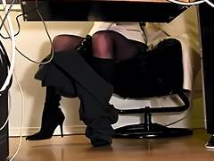 Secretaries underneath desk hidden web camera masturbation tube porn video