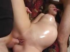 Pregnant slut satisfies two men and gets cum on her nice natural tits tube porn video