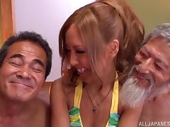 Steaming hot Japanese siren is given to two old farts tube porn video