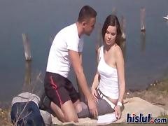 Slut by the lake just had to try the dick tube porn video