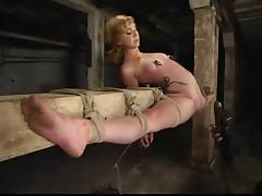Blonde in overextended bondage tube porn video