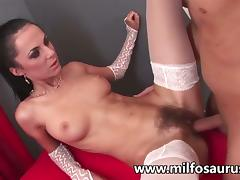 Brunette milf in stockings gets her clam pounded tube porn video