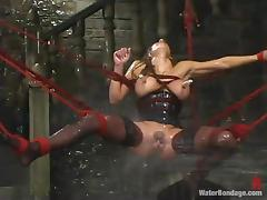 Charming sex slave is getting through a BDSM hell tube porn video
