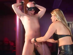 Bald male slave gets banged with strapon tube porn video